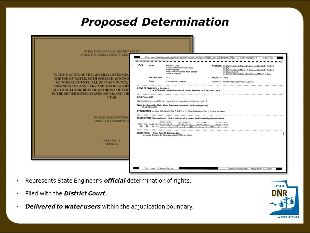 Proposed Determination Represents State Engineer's official determination of rights.