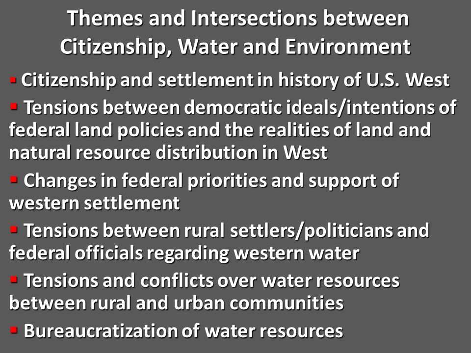 Powell's Proposed Solution to Problem of Western Aridity  As early as 1878, Powell proposed a scientific agenda for reform of public land law  Issue of water and irrigation (i.e.