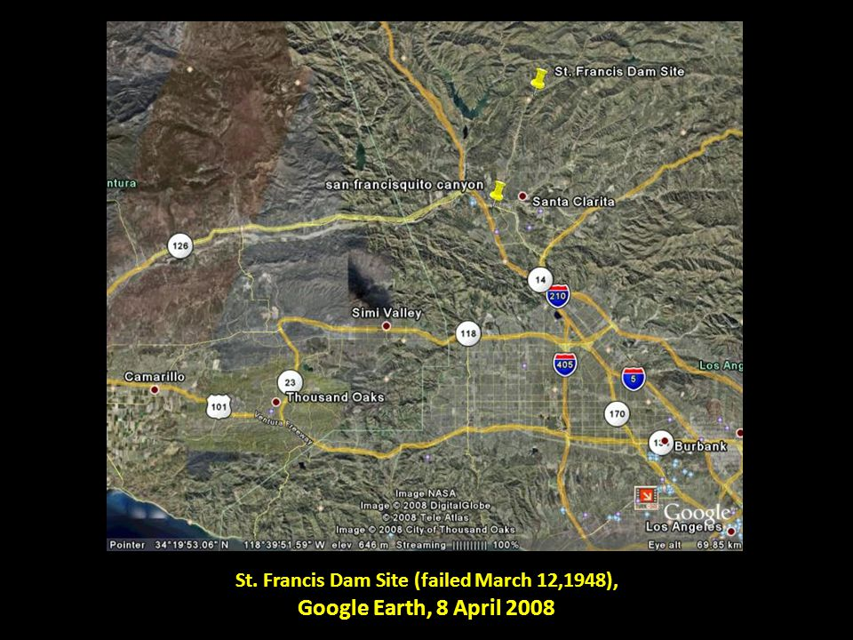 St. Francis Dam Site (failed March 12,1948), Google Earth, 8 April 2008