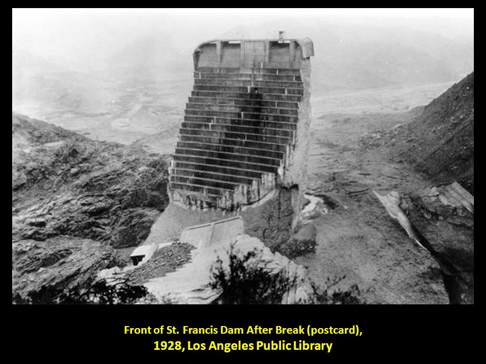 Front of St. Francis Dam After Break (postcard), 1928, Los Angeles Public Library