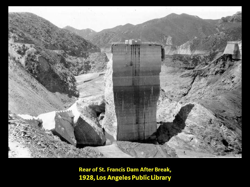 Rear of St. Francis Dam After Break, 1928, Los Angeles Public Library