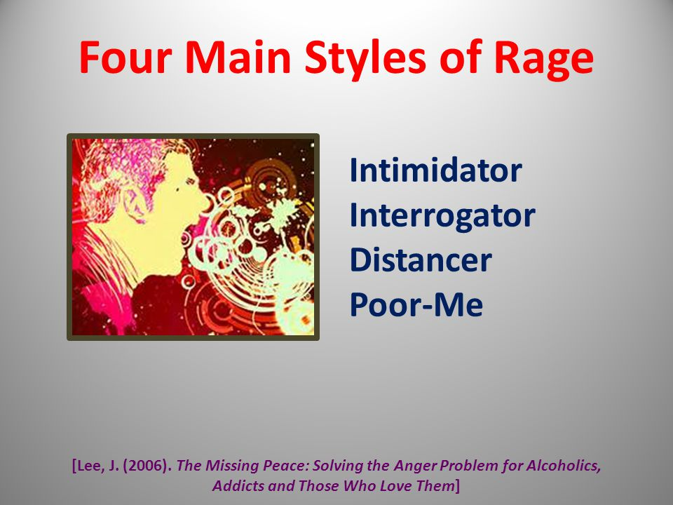 [Lee, J. (2006). The Missing Peace: Solving the Anger Problem for Alcoholics, Addicts and Those Who Love Them] Four Main Styles of Rage Intimidator In