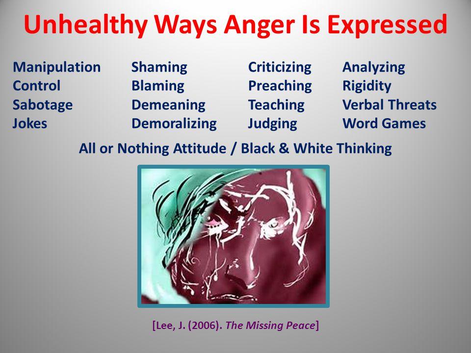 [Lee, J. (2006). The Missing Peace] Unhealthy Ways Anger Is Expressed Manipulation ShamingCriticizingAnalyzing Control BlamingPreachingRigidity Sabota