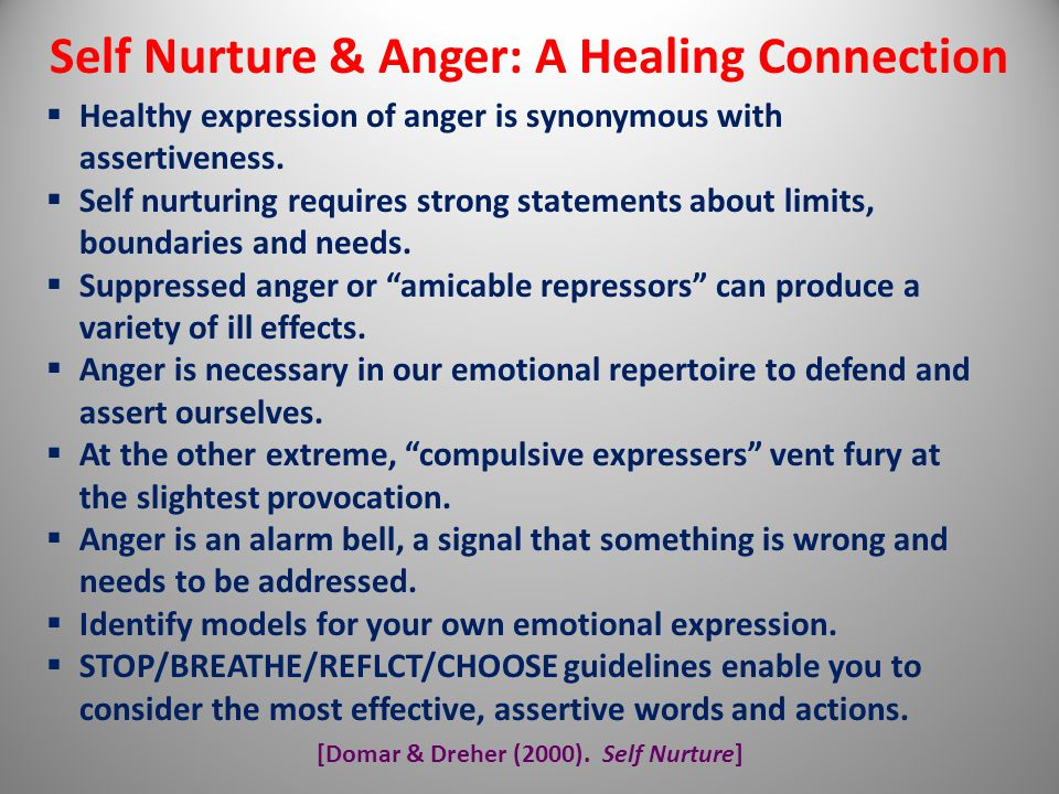 Self Nurture & Anger: A Healing Connection [Domar & Dreher (2000). Self Nurture]  Healthy expression of anger is synonymous with assertiveness.  Sel