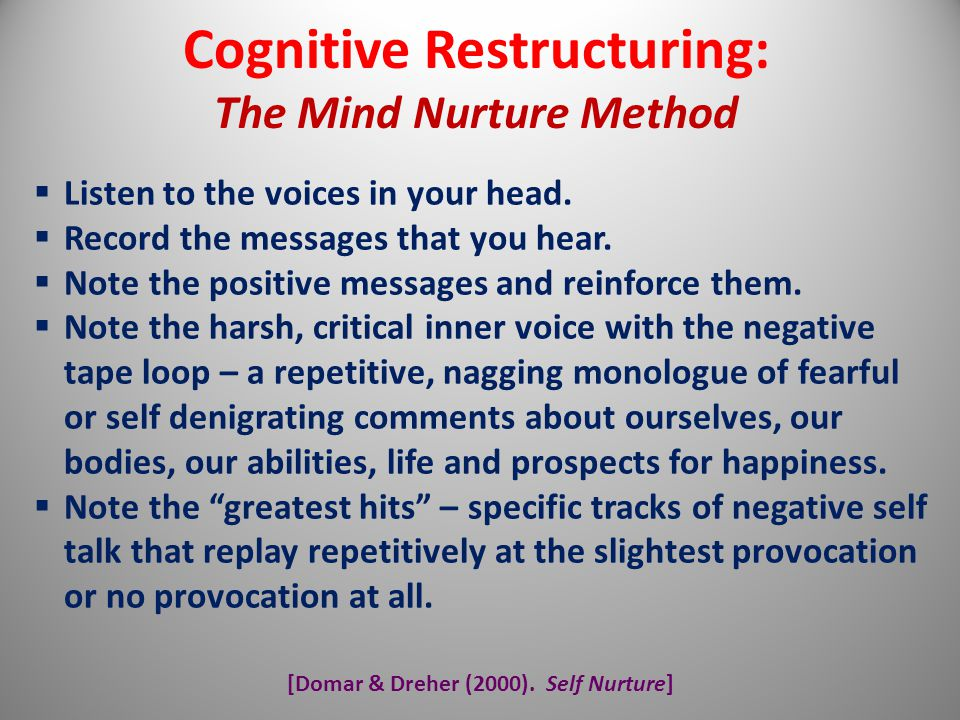 [Domar & Dreher (2000). Self Nurture] Cognitive Restructuring: The Mind Nurture Method  Listen to the voices in your head.  Record the messages that
