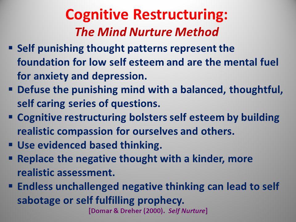 [Domar & Dreher (2000). Self Nurture] Cognitive Restructuring: The Mind Nurture Method  Self punishing thought patterns represent the foundation for