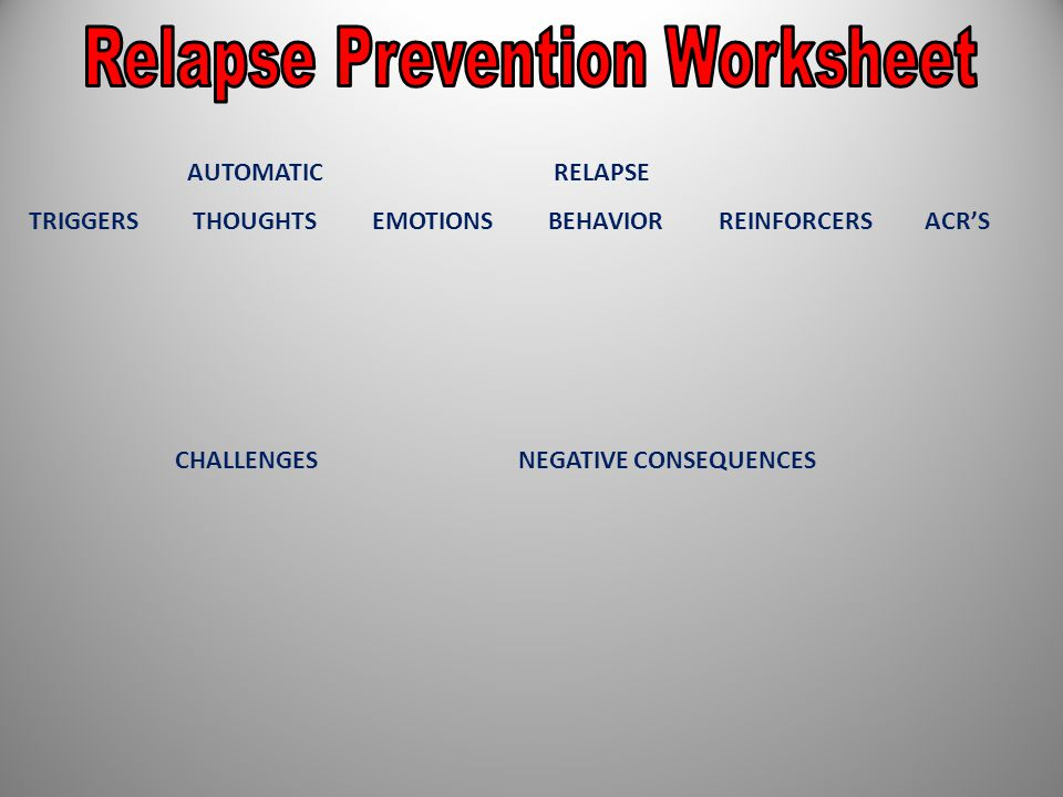 AUTOMATIC RELAPSE TRIGGERS THOUGHTS EMOTIONS BEHAVIOR REINFORCERS ACR'S CHALLENGES NEGATIVE CONSEQUENCES