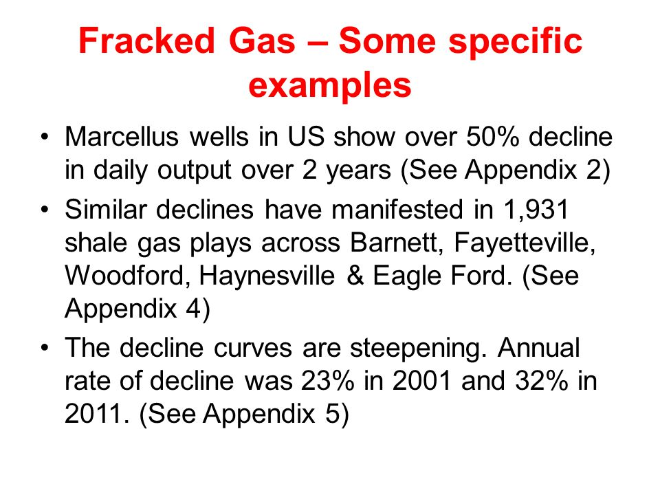 Fracked Gas – Some specific examples Marcellus wells in US show over 50% decline in daily output over 2 years (See Appendix 2) Similar declines have manifested in 1,931 shale gas plays across Barnett, Fayetteville, Woodford, Haynesville & Eagle Ford.