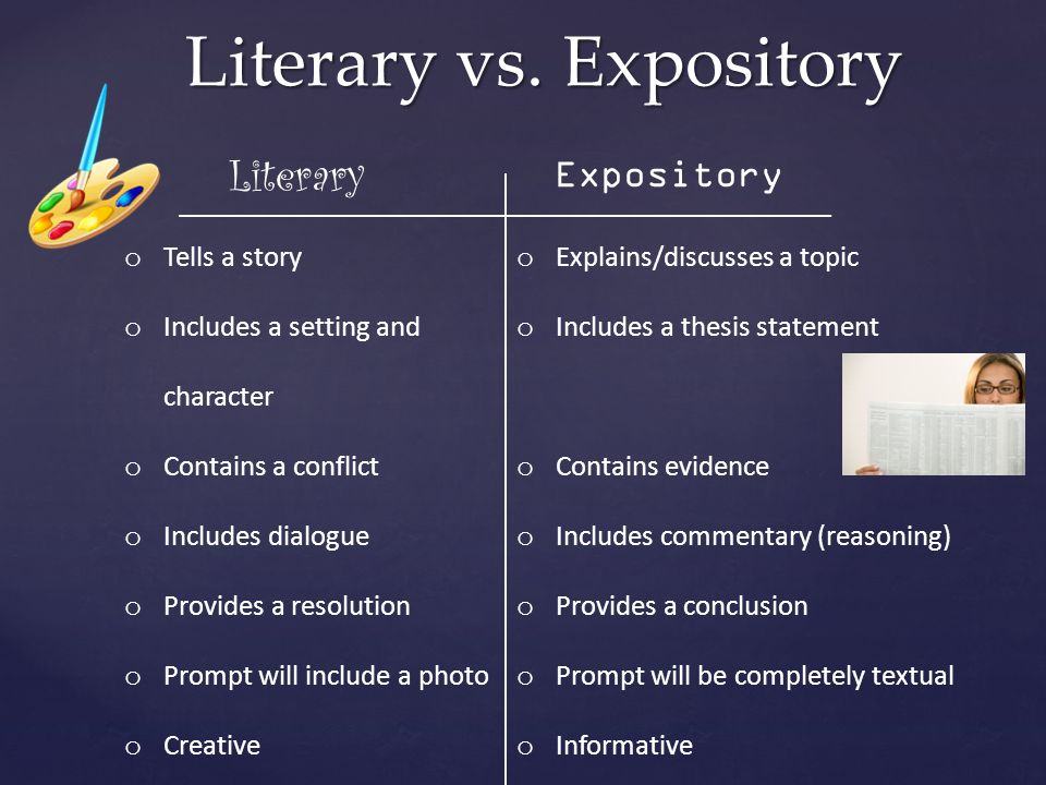 Literary vs. Expository o Tells a story o Includes a setting and character o Contains a conflict o Includes dialogue o Provides a resolution o Prompt