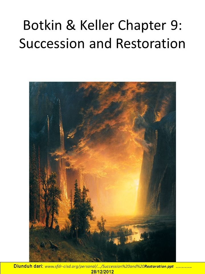 Botkin & Keller Chapter 9: Succession and Restoration Diunduh dari: www.sfdr-cisd.org/personal/.../Succession%20and%20Restoration.ppt ………..