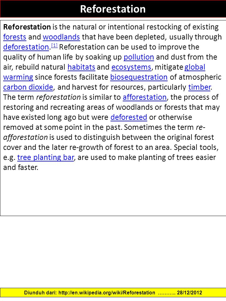 Reforestation Reforestation is the natural or intentional restocking of existing forests and woodlands that have been depleted, usually through deforestation.