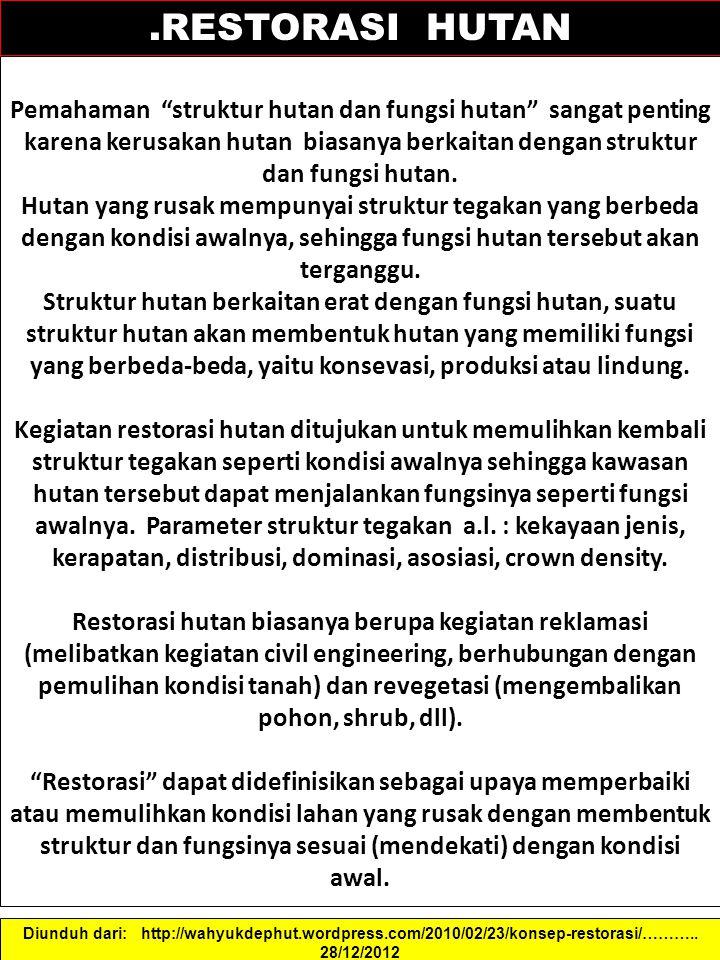 ".RESTORASI HUTAN Pemahaman ""struktur hutan dan fungsi hutan"" sangat penting karena kerusakan hutan biasanya berkaitan dengan struktur dan fungsi hutan"