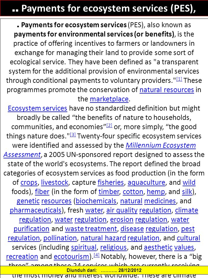 .. Payments for ecosystem services (PES),.