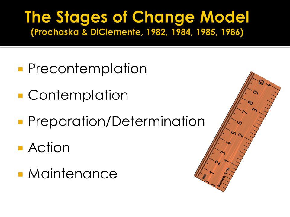  Precontemplation  Contemplation  Preparation/Determination  Action  Maintenance