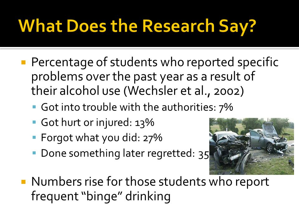  Percentage of students who reported specific problems over the past year as a result of their alcohol use (Wechsler et al., 2002)  Got into trouble with the authorities: 7%  Got hurt or injured: 13%  Forgot what you did: 27%  Done something later regretted: 35%  Numbers rise for those students who report frequent binge drinking
