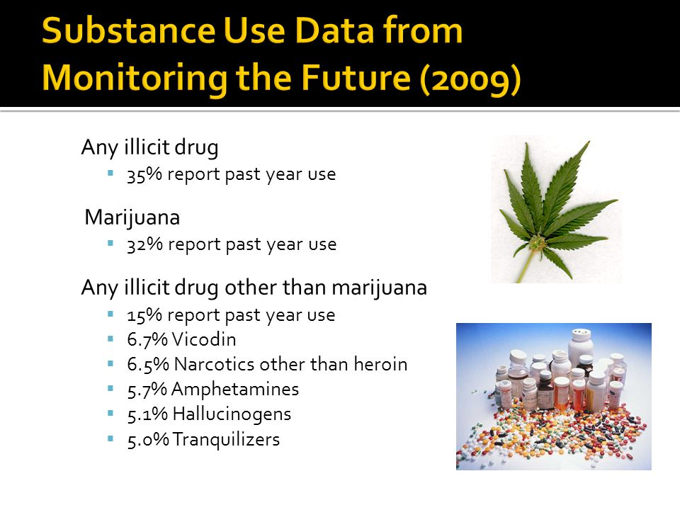Any illicit drug  35% report past year use Marijuana  32% report past year use Any illicit drug other than marijuana  15% report past year use  6.7% Vicodin  6.5% Narcotics other than heroin  5.7% Amphetamines  5.1% Hallucinogens  5.0% Tranquilizers