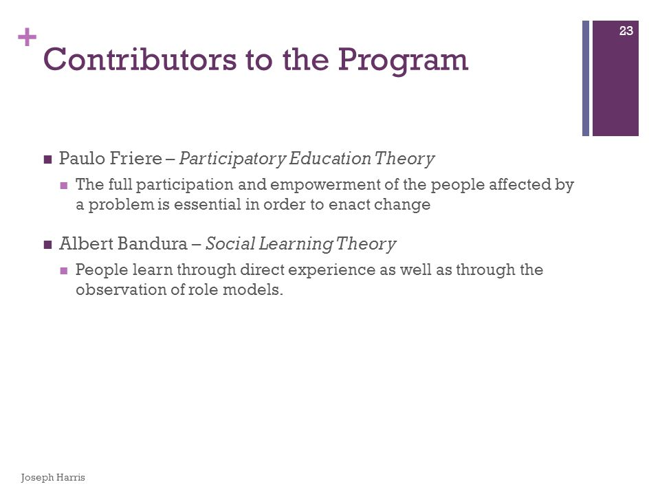 + Contributors to the Program Paulo Friere – Participatory Education Theory The full participation and empowerment of the people affected by a problem