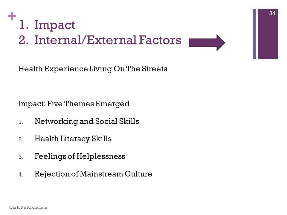 + 1. Impact 2. Internal/External Factors Health Experience Living On The Streets Impact: Five Themes Emerged 1. Networking and Social Skills 2. Health