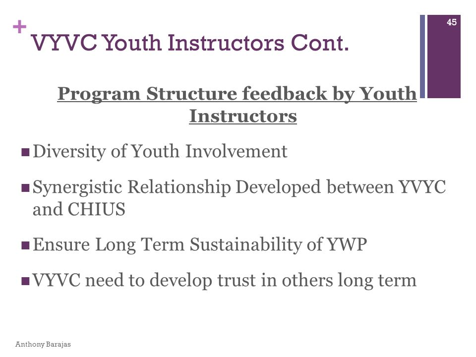 + Program Structure feedback by Youth Instructors Diversity of Youth Involvement Synergistic Relationship Developed between YVYC and CHIUS Ensure Long