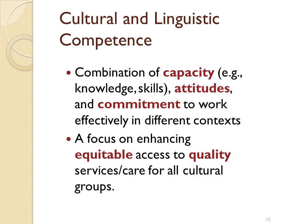 Diversity in development and learning  Knowledge of individual differences, abilities, disabilities, and other diverse characteristics; principles and research related to diversity factors for children, families, and schools, including factors related to culture, context, and individual and role differences; and evidence-based strategies to enhance services and address potential influences related to diversity Examples: Provide culturally competent and responsive services Promote fairness and social justice in school policies and programs Foundations of School Psychological Service Delivery