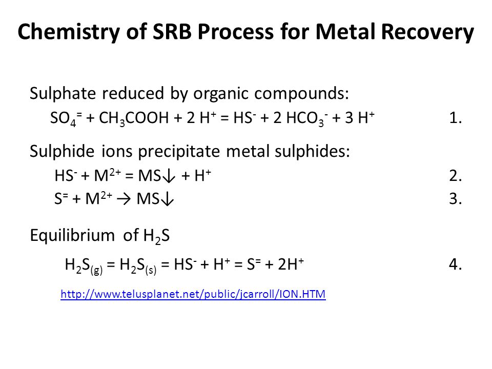 Chemistry of SRB Process for Metal Recovery Sulphate reduced by organic compounds: SO 4 = + CH 3 COOH + 2 H + = HS - + 2 HCO 3 - + 3 H + 1. Sulphide i