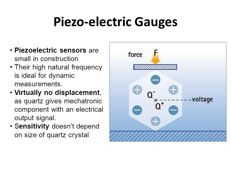 Piezo-electric Gauges Piezoelectric sensors are small in construction Their high natural frequency is ideal for dynamic measurements. Virtually no dis