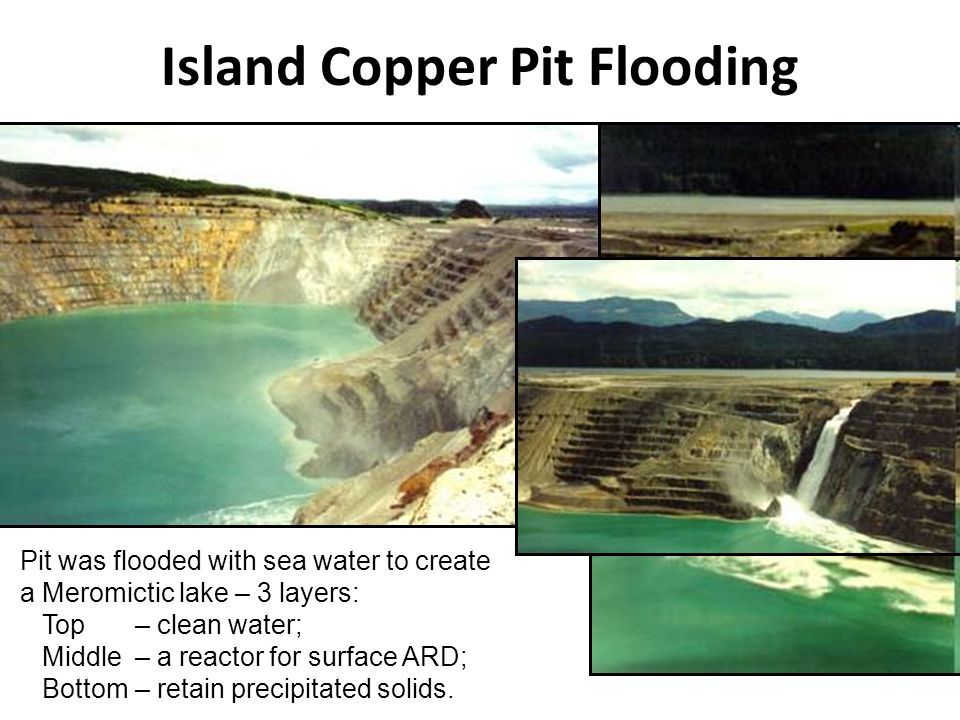 Island Copper Pit Flooding Pit was flooded with sea water to create a Meromictic lake – 3 layers: Top– clean water; Middle– a reactor for surface ARD;