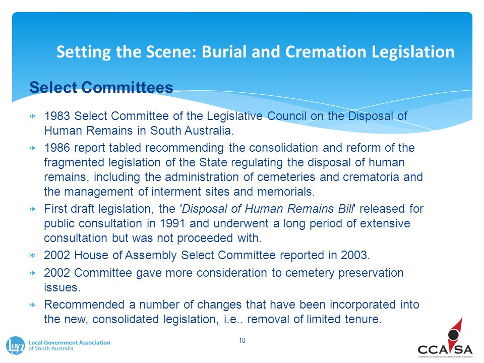 Setting the Scene: Burial and Cremation Legislation Select Committees  1983 Select Committee of the Legislative Council on the Disposal of Human Remains in South Australia.