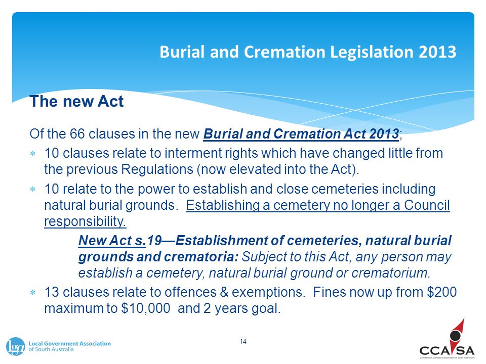 Burial and Cremation Legislation 2013 The new Act Of the 66 clauses in the new Burial and Cremation Act 2013;  10 clauses relate to interment rights