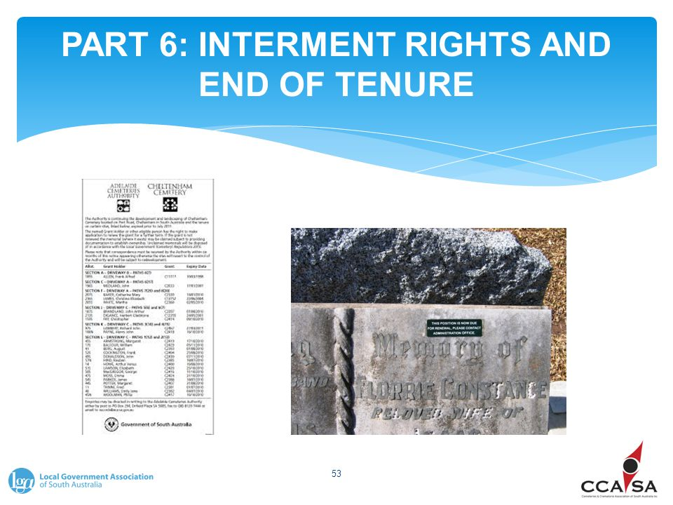 PART 6: INTERMENT RIGHTS AND END OF TENURE 53