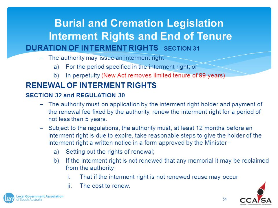 Burial and Cremation Legislation Interment Rights and End of Tenure 54 DURATION OF INTERMENT RIGHTS SECTION 31 –The authority may issue an interment r