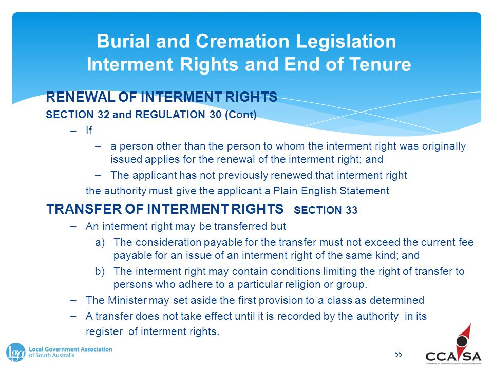 Burial and Cremation Legislation Interment Rights and End of Tenure 55 RENEWAL OF INTERMENT RIGHTS SECTION 32 and REGULATION 30 (Cont) –If –a person o