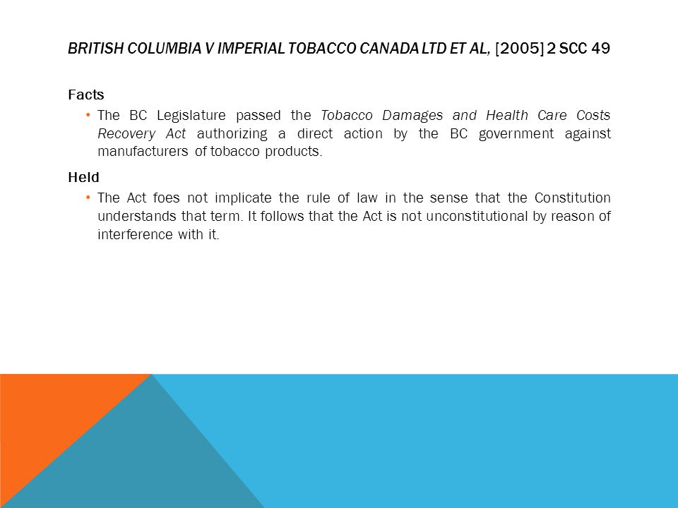 BRITISH COLUMBIA V IMPERIAL TOBACCO CANADA LTD ET AL, [2005] 2 SCC 49 Facts The BC Legislature passed the Tobacco Damages and Health Care Costs Recove