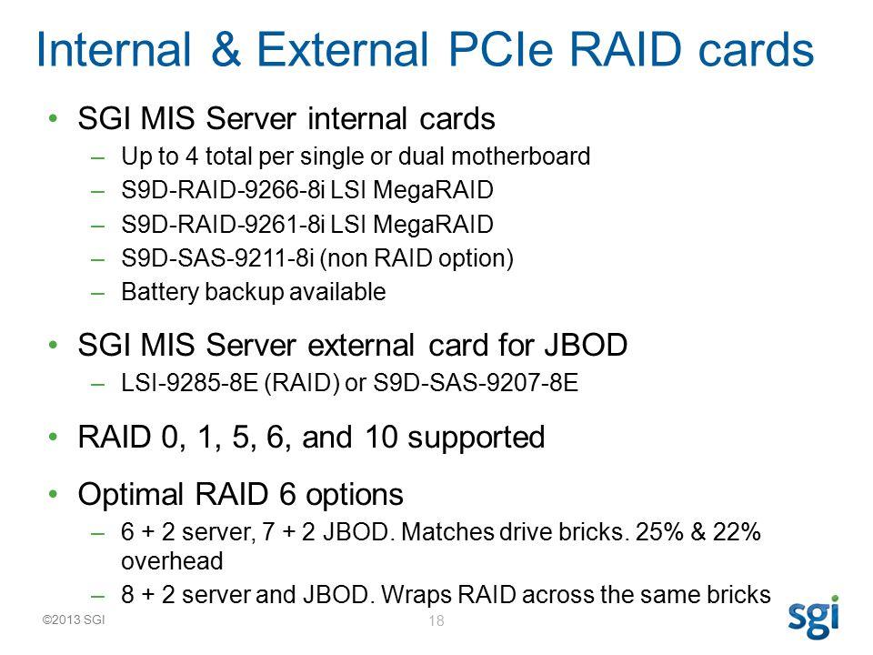 ©2013 SGI SGI MIS Server internal cards –Up to 4 total per single or dual motherboard –S9D-RAID-9266-8i LSI MegaRAID –S9D-RAID-9261-8i LSI MegaRAID –S9D-SAS-9211-8i (non RAID option) –Battery backup available SGI MIS Server external card for JBOD –LSI-9285-8E (RAID) or S9D-SAS-9207-8E RAID 0, 1, 5, 6, and 10 supported Optimal RAID 6 options –6 + 2 server, 7 + 2 JBOD.