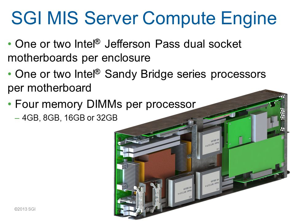 ©2013 SGI 10 CPU:Dual Socket Sandy Bridge MAX memory:8 LR/U/RDIMM Board size: 6.42 x 17.7 EthernetDual GbE Disk I/O4x ports 6 Gb/s SATA/SAS 1 2x ports 6 Gb/s SATA 2 IO lanes available56 Gen3 IO Slots3x PCIe3 x 16 – 1 From SCU to HSBP – 2 From AHCI controller Intel ® Jefferson Pass Motherboard