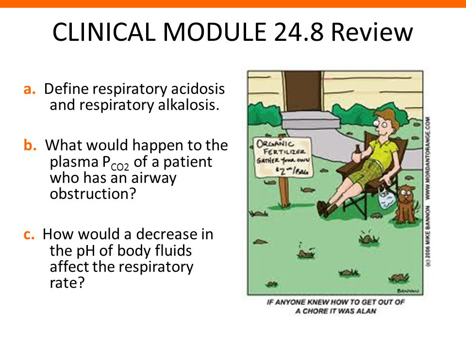 CLINICAL MODULE 24.8 Review a. Define respiratory acidosis and respiratory alkalosis. b. What would happen to the plasma P CO2 of a patient who has an