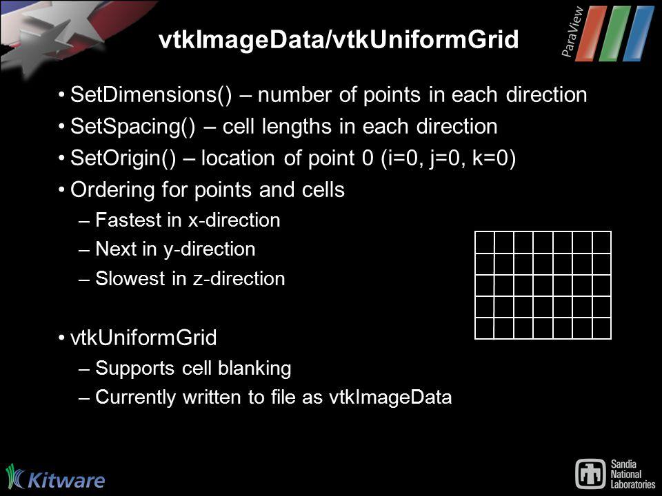 vtkImageData/vtkUniformGrid SetDimensions() – number of points in each direction SetSpacing() – cell lengths in each direction SetOrigin() – location of point 0 (i=0, j=0, k=0) Ordering for points and cells –Fastest in x-direction –Next in y-direction –Slowest in z-direction vtkUniformGrid –Supports cell blanking –Currently written to file as vtkImageData