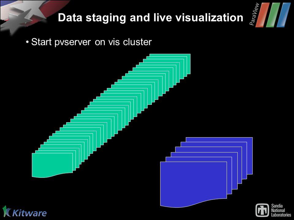 Data staging and live visualization Start pvserver on vis cluster