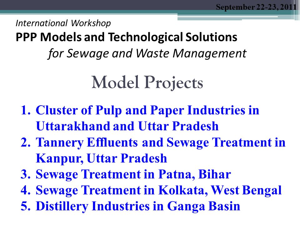 Summary of Information on Sewage Treatment Plants in Patna, Bihar Parameters Sewage Treatment Plant SaidpurBeurPahariKarmali Chak Year of Construction19361969-Under construction Installed Capacity (MLD) 4535254 Current Utilized Capacity (MLD) 3316 Not in operation Under construction Adopted Technology Activated Sludge Process (ASP) Aerated Lagoon(AL) Oxidation Pond (OP) Total WW Generation: 143 MLD Total STP Capacity (installed): 110 MLD Utilized Capacity : 49 MLD