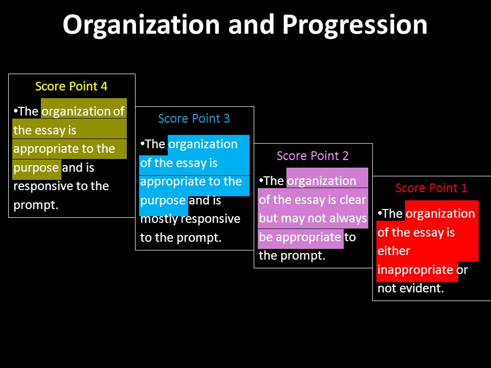 Organization and Progression Score Point 4 The organization of the essay is appropriate to the purpose and is responsive to the prompt.