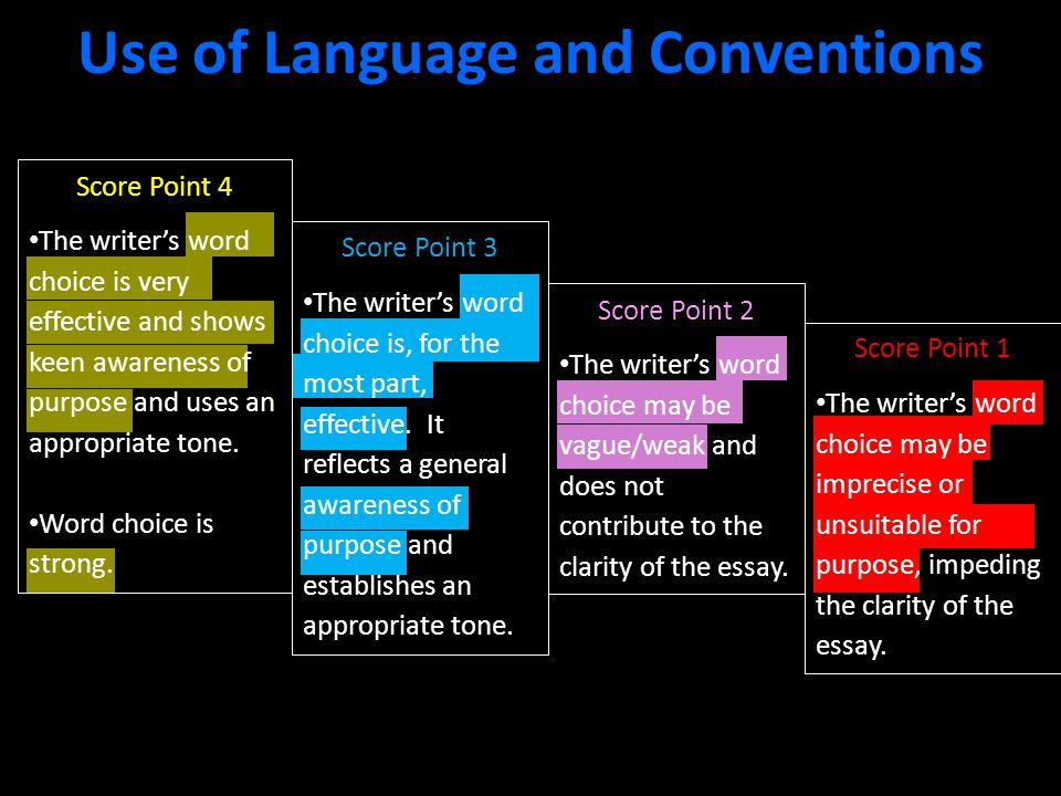 Use of Language and Conventions Score Point 4 The writer's word choice is very effective and shows keen awareness of purpose and uses an appropriate tone.