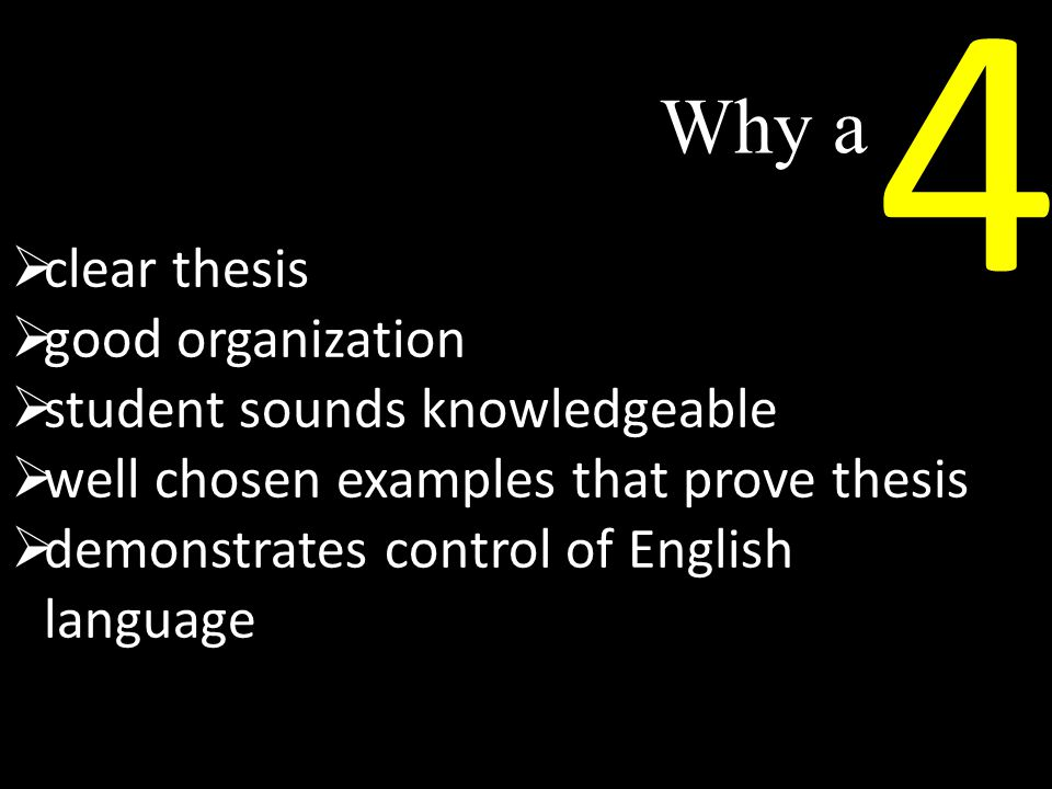 Why a 4  clear thesis  good organization  student sounds knowledgeable  well chosen examples that prove thesis  demonstrates control of English language