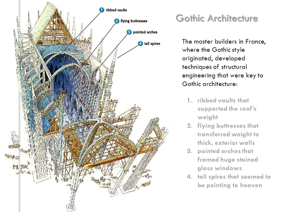 Gothic Architecture The master builders in France, where the Gothic style originated, developed techniques of structural engineering that were key to Gothic architecture: 1.ribbed vaults that supported the roof's weight 2.flying buttresses that transferred weight to thick, exterior walls 3.pointed arches that framed huge stained glass windows 4.tall spires that seemed to be pointing to heaven