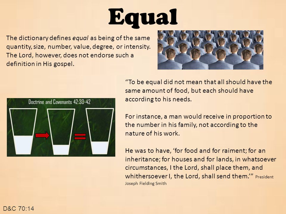 Equal D&C 70:14 The dictionary defines equal as being of the same quantity, size, number, value, degree, or intensity.