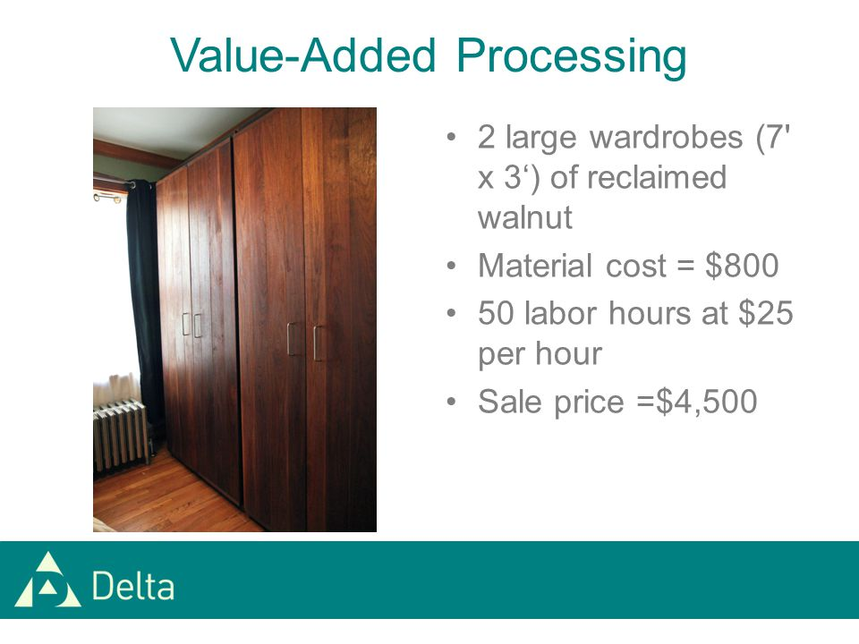 Value-Added Processing 2 large wardrobes (7 x 3') of reclaimed walnut Material cost = $800 50 labor hours at $25 per hour Sale price =$4,500