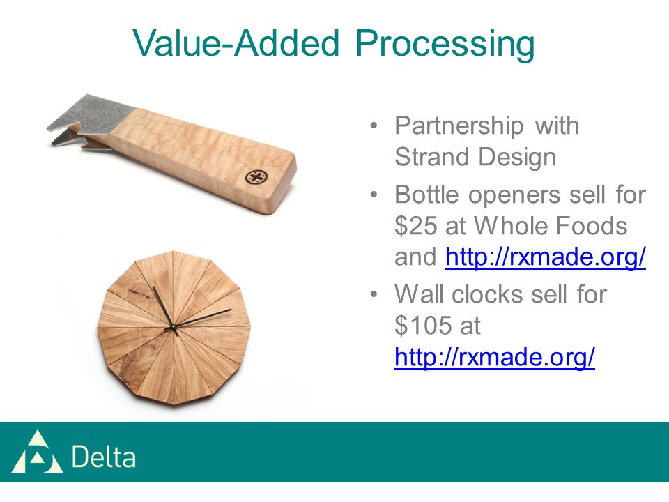 Partnership with Strand Design Bottle openers sell for $25 at Whole Foods and http://rxmade.org/http://rxmade.org/ Wall clocks sell for $105 at http://rxmade.org/ http://rxmade.org/