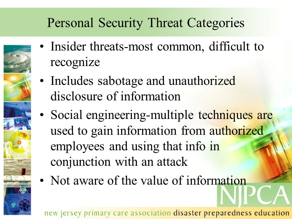 Personal Security Threat Categories Insider threats-most common, difficult to recognize Includes sabotage and unauthorized disclosure of information S