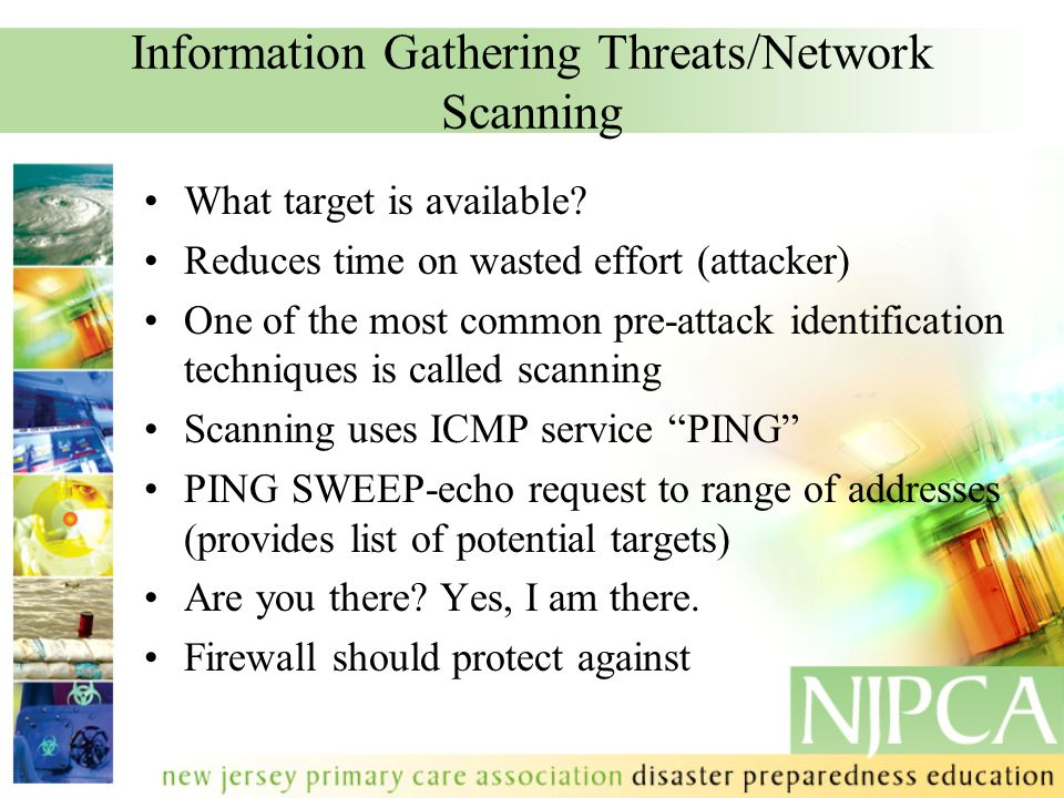 Information Gathering Threats/Network Scanning What target is available.
