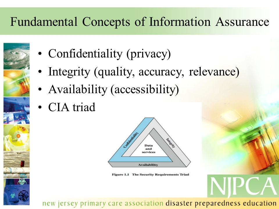 Fundamental Concepts of Information Assurance Confidentiality (privacy) Integrity (quality, accuracy, relevance) Availability (accessibility) CIA tria