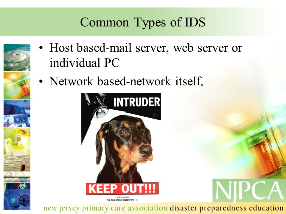 Common Types of IDS Host based-mail server, web server or individual PC Network based-network itself,